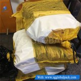 Gelber Polyineinander greifen-Beutel für verpackenbrennholz
