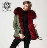2015 véritable couleur rouge Veste parka de fourrure de renard enduire le commerce de gros