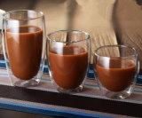 450ml二重壁のガラスコップのふたが付いているハンドメイドのコーヒー・マグジュースのコップ