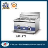 Friteuse d'acier inoxydable de puce de gaz avec 2 le panier du réservoir 2 (HGF-972)