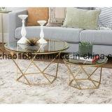 황금 유리제 테이블 공상 타원형에 의하여 구부려지는 유리제 커피용 탁자
