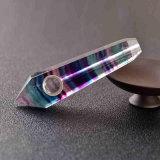 Tubo que fuma material natural del tubo de la mano del fluorito del arco iris del tubo de la mano que fuma