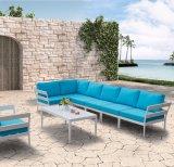 Sofà blu di alluminio esterno dell'ammortizzatore del Ministero degli Interni del salotto del patio moderno del giardino (J599-KD)
