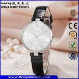 Reloj ocasional de la mujer del cuarzo de la correa de cuero de la fábrica OEM/ODM (Wy-061B)