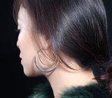 Экстравагантные двойной круг плоский большой дуги серьги с S/M/L/XL разных размеров серебристый цвет золота серьги женщин производителей ювелирных изделий