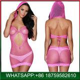 帽子が付いている方法女性のピンクの継ぎ目が無い魚網のセクシーなランジェリー