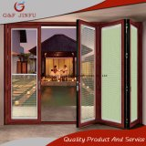 Wood Grain Aluminum Alloy Doubles Glazed Folding Door with Shutters