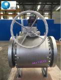 Valvola a sfera montata perno di articolazione flangiata manovrata mediante ingranaggi di Wcb dell'acciaio di getto