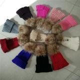 子供の冬のウサギの毛皮POM POMの帽子の帽子のウールは帽子および帽子を暖める