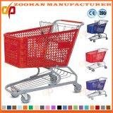 Chariot en plastique à caddie d'épicerie en métal de fil de grande capacité (Zht215)