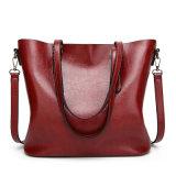 Nuovo sacchetto di spalla alla moda della borsa del sacchetto di Tote del sacchetto della benna di colore solido della cartella della maniglia della signora Retro Oil Wax PU Top, Multi-Colori