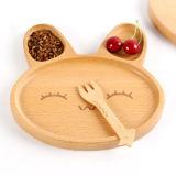 Belle plaque de dîner de dessin animé en bois pour des enfants