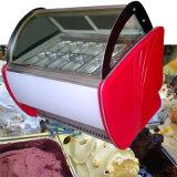 Vidro curvo de sorvete de aço inoxidável superior do visor para venda