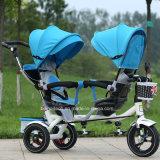 El bebé hermana el triciclo del asiento doble de los cabritos del triciclo de China