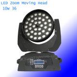 디스코 단계 빛 36LEDs 10W RGBW 4in1 급상승 세척 LED 이동하는 맨 위 빛