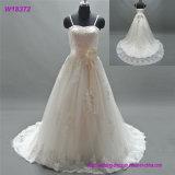 Платье цвета слоновой кости венчания самой дешевой просто новой картины Tulle типа длинней