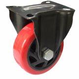 Roulette pivotante en rouleau en PVC rouge 3/4 / 5 pouces avec frein industriel