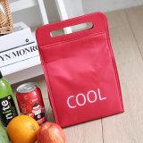 Eingebrannte kleine Picknick-Kühlvorrichtung sackt Mittagessen-Kasten kühle rote bewegliche Eis-Satz-Mittagessen-Beutel-Isolierungs-Beutel-Nahrung frische Isolierhandtaschen ein