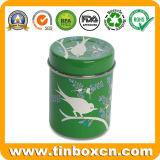 Carrito de té que empaqueta la caja redonda grabada 3D del estaño del té del metal