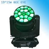 lumière principale mobile du zoom DEL de faisceau d'oeil de 19*15W B