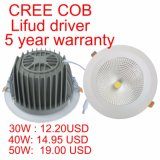 8 pouces de 30W 35W 40W 45W 50W COB LED Downlight encastré