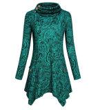 As mulheres Turtleneck túnica assimétrica Tops com bolsos10454 ESG