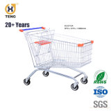 Ue100c 100L Europa Style Carrinho de Compras de supermercado de metal com 4 rodas giratórias