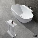 Blanc pur de la pierre artificielle le trempage salle de bain baignoire autostable