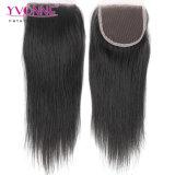 Colore superiore diritto brasiliano 100% della chiusura dei capelli umani di Remy del Virgin di Yvonne #1b