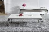 Wohnzimmer-Möbel-alternativer weißer Marmor u. ahmte hölzernen SpitzenEdelstahl-Kaffeetisch nach