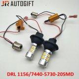 自動車DRL S25 T20 5630 20SMD日の連続したライト