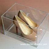 Caída de acrílico transparente de lujo frente caja de zapatos G4004