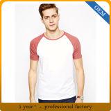 T-shirt 100% de chemise de Raglan de sport du coton des hommes d'OEM