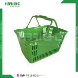 Cestino di acquisto di plastica del doppio supermercato della maniglia