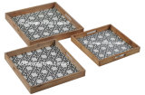 S/3正方形のカスタムプリント型の木のサービングの皿W/Handle