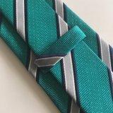 Cravate faite sur commande tissée de polyester avec la relation étroite en soie de logo (L044)