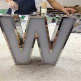 Signes de lettre lumineux par DEL de bord de soudure d'acier inoxydable en métal du système 3D de Signage