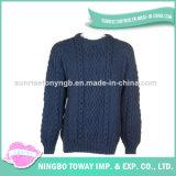 Camisola de confeção de malhas dos homens da tela de lãs do inverno do poliéster do algodão