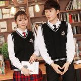Personalizzare uniforme scolastico 100% dei pannelli esterni pieghettato camice del banco del cotone l'alto