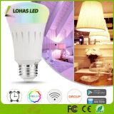 WiFi controló el color de E26 9W que cambiaba el bulbo elegante del LED con Controlor alejado