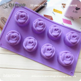 15 bandejas de bolo flexíveis do silicone das rosas com 29.7*17.5*2.7cm