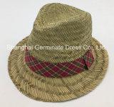 sombrero 100%Straw con la venda de la corona de la verificación (Sh042)