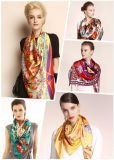 カスタムデジタル印刷100%の絹のスカーフ(F13-0014)