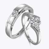 De Plata de buena calidad de corte de diamante pareja Juego de anillo