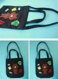 Ricamo del fumetto di grande capienza del sacchetto di acquisto del distintivo del sacchetto di Tote della tela di canapa