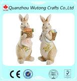 La meilleure décoration de figurine de lapin de Pâques de cadeaux de vacances de ressort de résine de vente
