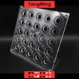 카지노 둥근 40-42mm 칩 Ym-CZ01를 위한 아크릴 부지깽이 칩 상자 카지노 칩 운반대