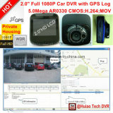 """2.0 """" 경로, 차 제한 속도를 추적하는 Google 지도 GPS를 가진 차 비행 기록 장치 대시 GPS 로그 차 DVR; GPS 협조 우표, 루프 기록병; 밖으로 H264.HDMI, 5.0mega 차 사진기"""