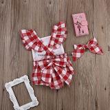 신생아 여자 아기 옷 격자 무늬 검사 장난꾸러기 낙하산 강하복 Bodysuit는 Esg10187를 채비를 차려 준다