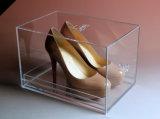 Boîte de présentation acrylique fabriquée à la main de chaussure d'espadrille, traction et traitement de poussée